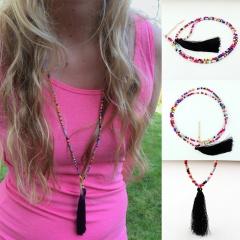 Multicolor Rice Beads Black Tassel Long Necklace Jewelry Multicolor