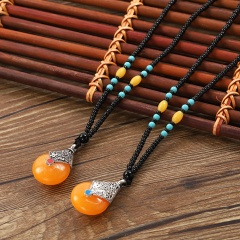Ethnic Feather Long Bead Chain Necklace Jewelry for Women A
