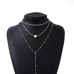 Multilayer Crystal Pearl Necklace Jewelry Wholesale Silver