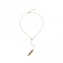 Gold Silver Long Feather Chain Necklace Jewelry Wholesale Gold