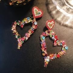 Shinning Multicolor Rhinestone Elegant Dangle Earrings Heart