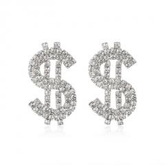Rhinestone Shinning Money Symbol Earring Jewelry Silver