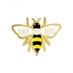 Gold Big Eyes Cartoon Bee Pins Brooches for Women B