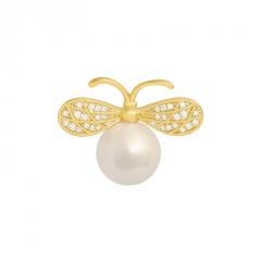 Gold Pearl Rhinestone Small Bee Pins Brooches Jewelry Bee