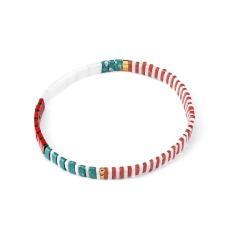 Wholesale Fashion Color Mixed Square Rice Beads Elastic Bracelet 1
