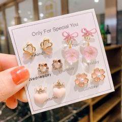 6 Pairs/Set Korean Fashion Sweet Earring Set A