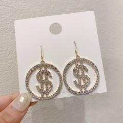 Circle Dollar Diamond Dangle Hook Earrings Jewelry Wholesale Gold
