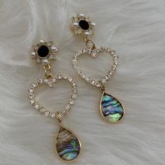 Gold Shinning Rhinestone Dangle Luxury Earrings Heart