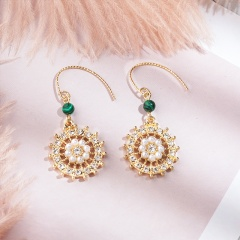 Gold Pearl Crystal Flower Dangle Stud Earrings Wholesale Dangle