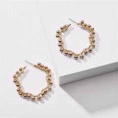 Gold Pearl Crystal Flower Dangle Stud Earrings Wholesale Circle