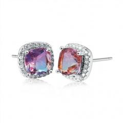 Shinning Brass Diamond Luxury Stud Earrings Jewelry Square