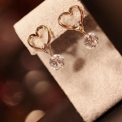 Gold Heart Pearl Dangle Stud Earrings Wholesale crystal