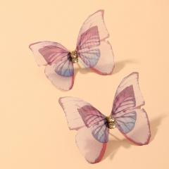 Three-Dimensional Tulle Double Butterfly Stud Earrings Purple