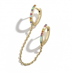 1 Piece Gold Circle Chain Earring Jewelry Wholesale Multicolor
