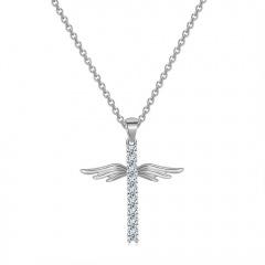 Angel WIngs Rhinestone Gold Cross Pendant Chain Necklace Silver
