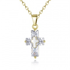 Luxury Gold Gemstone Brass Cross Pendant Necklace Wholsale Gold