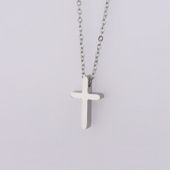Stainless Steel Simple Cross Penant Chain Neckalce Silver