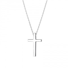 Simple Silver Cross Pendant Chain Necklace Wholesale A