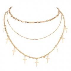 Simple Silver Cross Pendant Chain Necklace Wholesale D