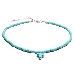 Natural Stone Beads Cross Pendant Short Necklace Wholesale Blue