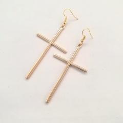 Simple Cross Ear Hook Earrings fow Women Gold