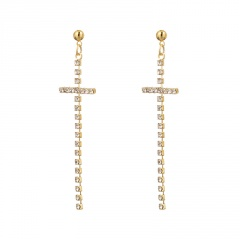 Simple Rhinestone Cross Dangle Stud Earring Wholesale Gold