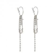 Silver Rhinestone Long Tassel Cross Earring Wholesale Cross Chain