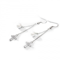 Silver Brass Zircon Stone Long Chain Earrings Jewelry White