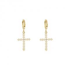 Gold Rhinestone Cross Dangle Earring Jewelry Cross-A