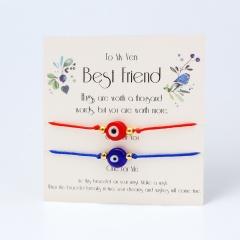 2 Pieces/Set Evil Eyes Rope Adjustable Bracelet Wholesale Evil Eyes