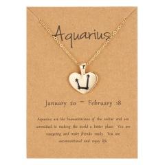 12 Constellation Heart Gold Chain Pendant Necklace Jewelry Aquarius