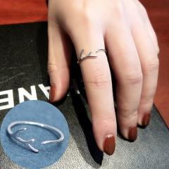 Silver Simple Open Adjustable Shinning Stone Rings Wholesale Elk