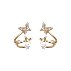 Gold Butterfly Series Stone Stud Earring Wholesale style 2