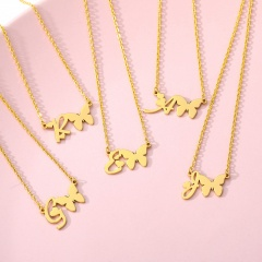 Fashion Gold Stainless Steel Butterfly Letter Chain Necklace Jewelry U