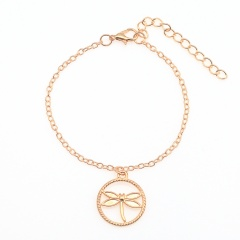 Fashion Gold Silver Dargonfly Dangle Chain Bracelet Gold