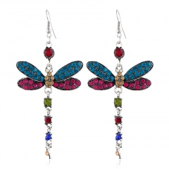 Vintage Micro-studded Insect Dragonfly Ear Hook Rarrings multicolor