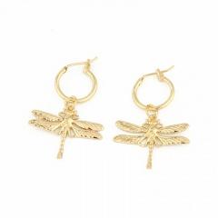 Dragonfly Pendant Ear Stud Ear Hoop Earrings Gold