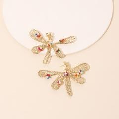 Handmade Rice Beads Winding Flower Dragonfly Stud Earrings style 1