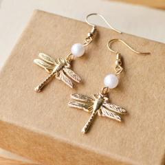 Handmade Rice Beads Winding Flower Dragonfly Stud Earrings style 5