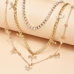 3 Pieces/Set Dargonfly Butterfly Multilayer Chain Necklace Wholsale butterfly