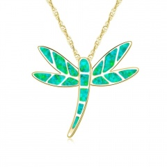Gold Colorful Dargonfly Pendant Chain Necklace Wholesale green