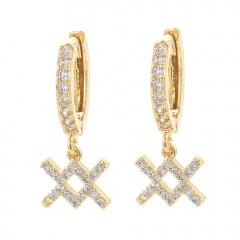 gold 12 constellation zircon stone ear hook earrings wholesale Aquarius