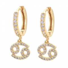 gold 12 constellation zircon stone ear hook earrings wholesale Cancer
