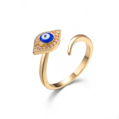 Gold Devil's Eye Brass Diamond Rings Wholesale style 1