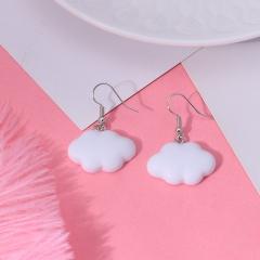 cartoon cloud ear hook earrings wholesale white