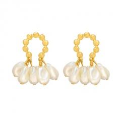S925 Silver Needle Tassel Pearl Stud Earrings pearl