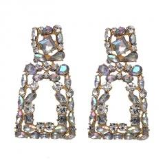 geometric shinning full diamond rhinestone earrings white