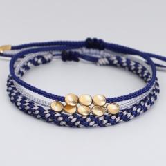 3 Pieces/Set Copper Bead Knot Hand-woven Adjustable Bracelet Set style 2