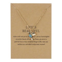 Hummingbird Bird Pendant Paper Card Necklace blue