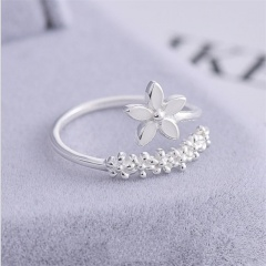 Brass Silver Plated Open Flower Rings fow Women flower